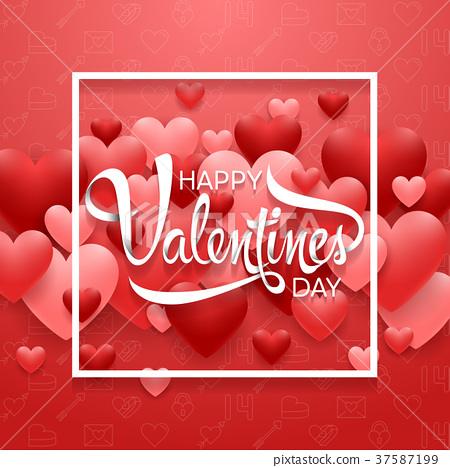 Happy valentines day with heart on red background 37587199