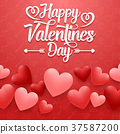 Valentines day greeting card with hearts on red ba 37587200