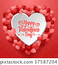 Valentines day greeting card with many hearts 37587204