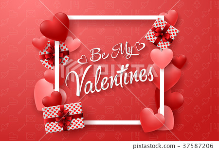 Happy valentines day with red hearts and presents. 37587206