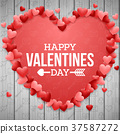 Happy valentines day background with bright red he 37587272