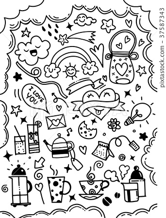 Hand drawn cute doodles collection elements vector 37587343