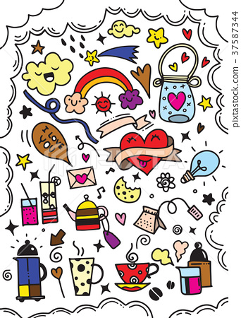 Hand drawn cute doodles collection elements vector 37587344