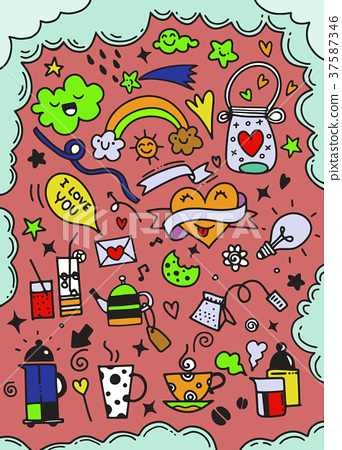 Hand drawn cute doodles collection elements vector 37587346
