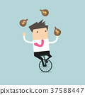 Businessman juggling money bag while cycling 37588447