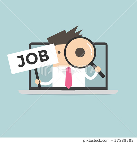 Businessman holding JOB sign 37588585