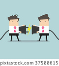 Two businessman trying to connect electric plug 37588615