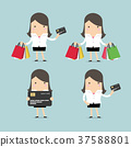 Set of businesswoman with credit card and shopping 37588801