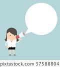 Businesswoman holding megaphone with speech bubble 37588804