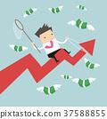 Businessman riding success arrow graph catch money 37588855