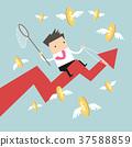 Businessman riding success arrow graph catch coins 37588859