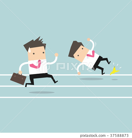 Businessman running with his competitor 37588873