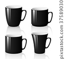 Set of black cups isolated on white background 37589030