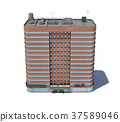 3d rendering of a red brick apartment building 37589046