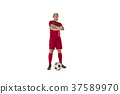 Professional football soccer player with ball 37589970