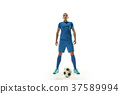 Professional football soccer player with ball 37589994