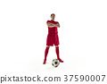 Professional football soccer player with ball 37590007