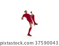 Professional football soccer player isolated on 37590043