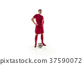 Professional football soccer player with ball 37590072