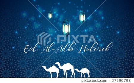 Eid al adha blue greeting background with arabic l stock eid al adha blue greeting background with arabic l m4hsunfo