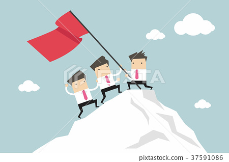 Businessman Team Climbing atop Peak, Teamwork 37591086