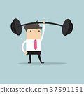 Businessman holding a heavy barbell with one hand 37591151