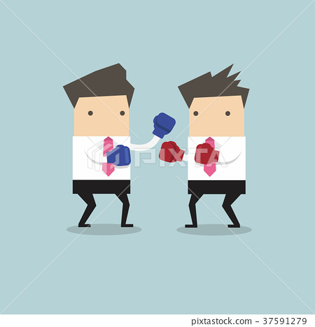 Two businessmen wearing boxing gloves fighting 37591279