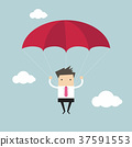 Businessman with parachute focused on a target 37591553