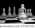 Close up of White Chess on Chessboard 37592381