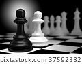 Close up of Black Chess Battle with White Chess  37592382