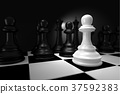 Close up of White Chess Battle with Black Chess  37592383