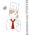 여성 요리사 파티쉐 생각 37592549
