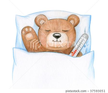 Teddy bear ill in bed. 37593051