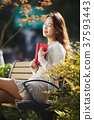 여자, 벤치, 책 37593443