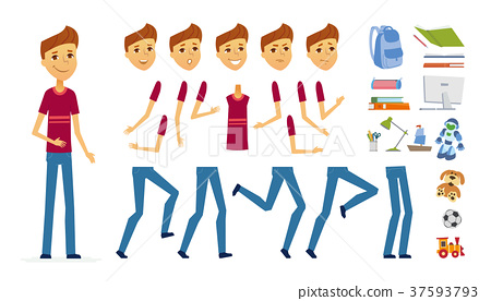 Schoolboy - vector cartoon people character 37593793