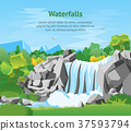 Cartoon Waterfall Landscape Background Card Poster 37593794