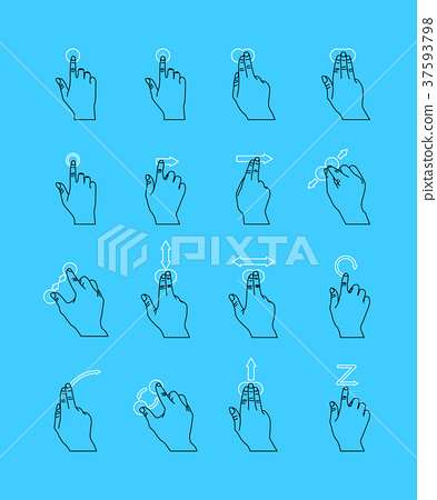 Thin Line Touch Screen Gestures Set. Vector 37593798