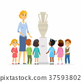 Children with teacher in museum - cartoon people 37593802