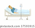 Man in hospital on a drip - cartoon people 37593915