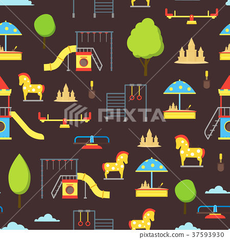 Cartoon Playground Element Seamless Pattern 37593930