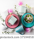 Spring crockery concept with tulip flowers pastel  37594658