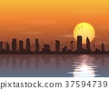 City at sunset background beside a river 37594739