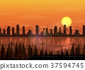 City at sunset background with train beside a rive 37594745