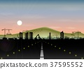Highway with construction site and mountain landsc 37595552