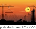 Construction site silhouettes at sunset 37595555