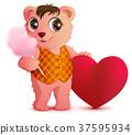 Pink fun bear holds sweet cotton wool 37595934