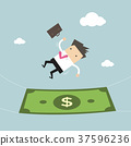 Businessman falling into a money banknote 37596236