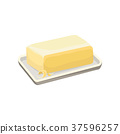 Butter on a white plate, dairy product cartoon 37596257