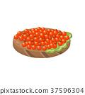 Canape with salmon red caviar cartoon vector 37596304