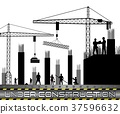 Construction workers with cranes 37596632